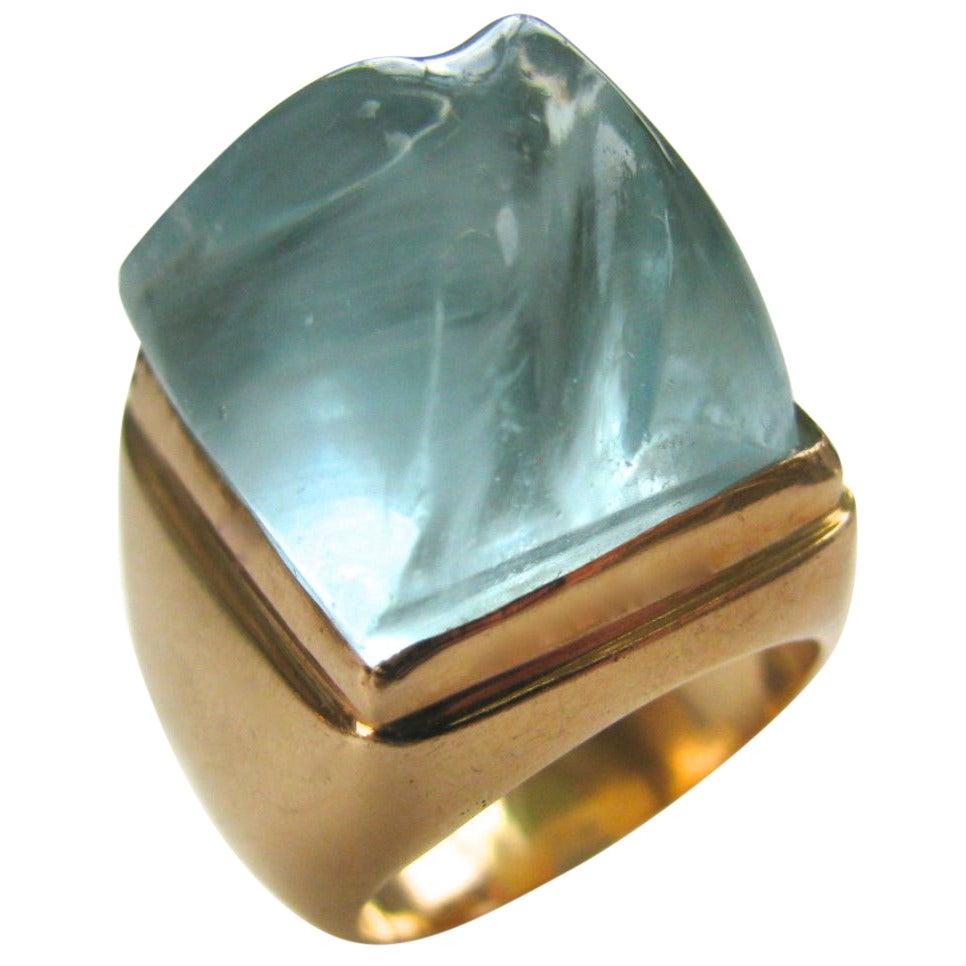 heraldo burle marx aquamarine gold cocktail ring at 1stdibs