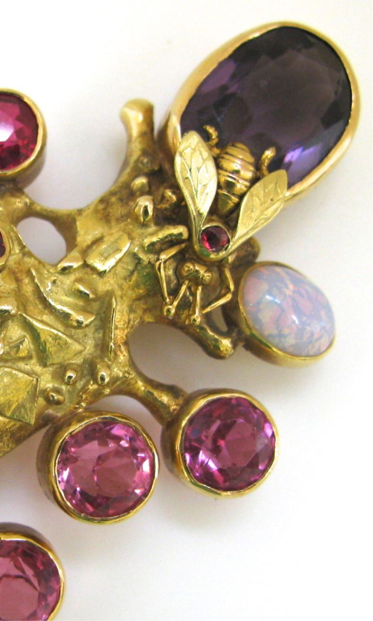 Fernand Demaret Multiple Gemstone Gold Pendant/Brooch with Bee In Excellent Condition For Sale In Cincinnati, OH