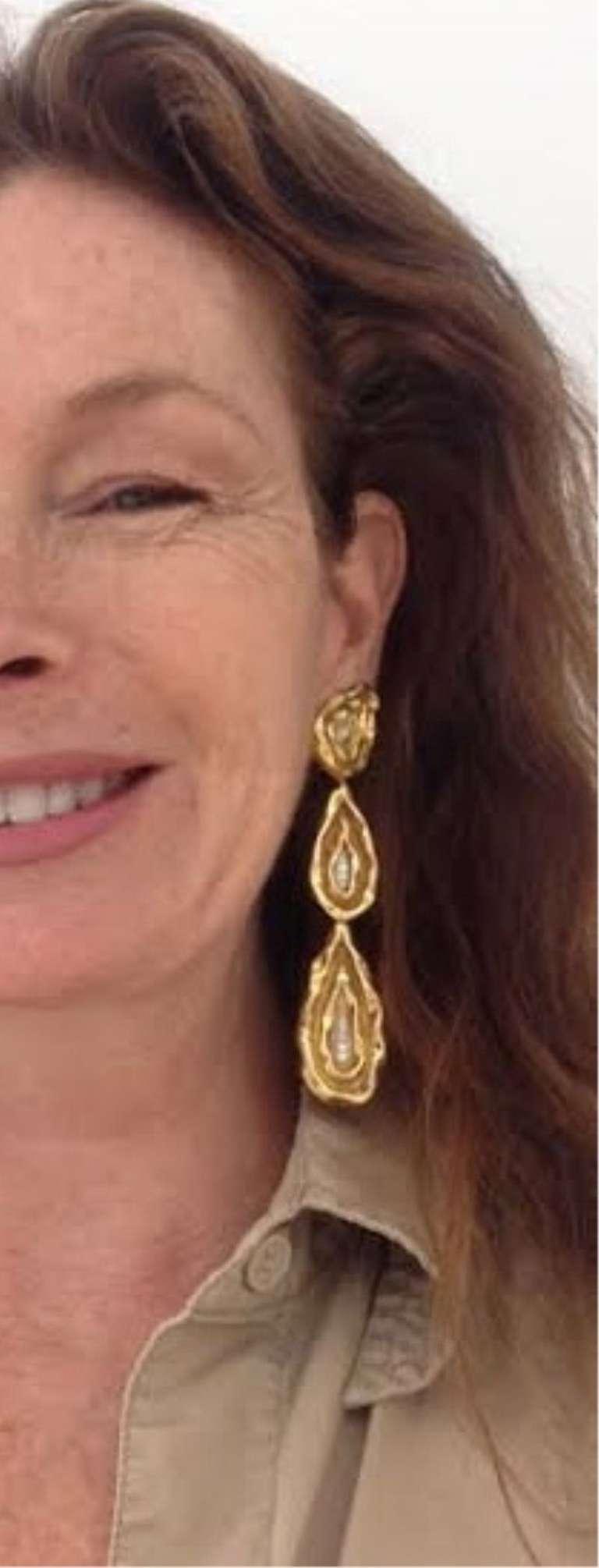 French Neiman Marcus 1970s Four Inch  Long  Diamond Gold Earrings  3