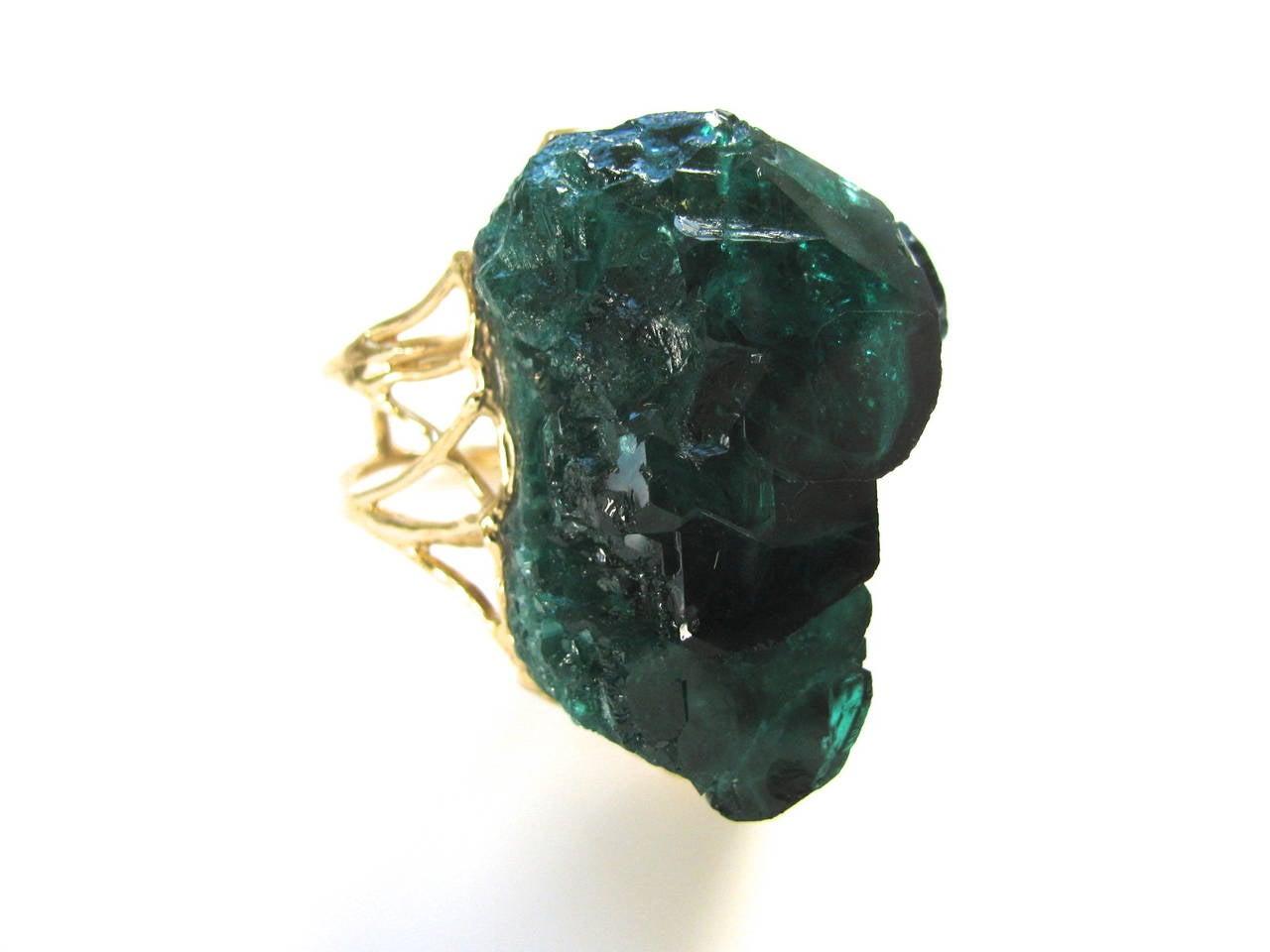 Massive Emerald Crystal Cocktail Ring at 1stdibs