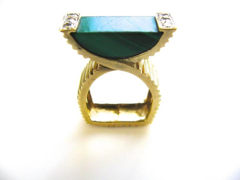 La Triomphe Malachite and Diamond Ring, circa 1970 For Sale 2