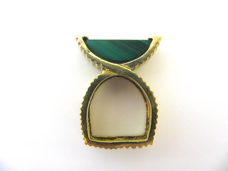Modernist La Triomphe Malachite and Diamond Ring, circa 1970 For Sale