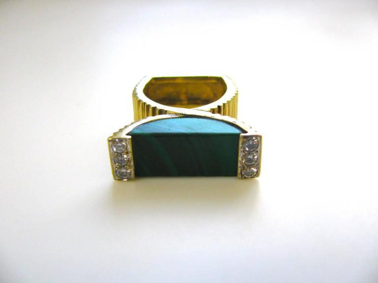 La Triomphe Malachite and Diamond Ring, circa 1970 In Excellent Condition For Sale In Cincinnati, OH