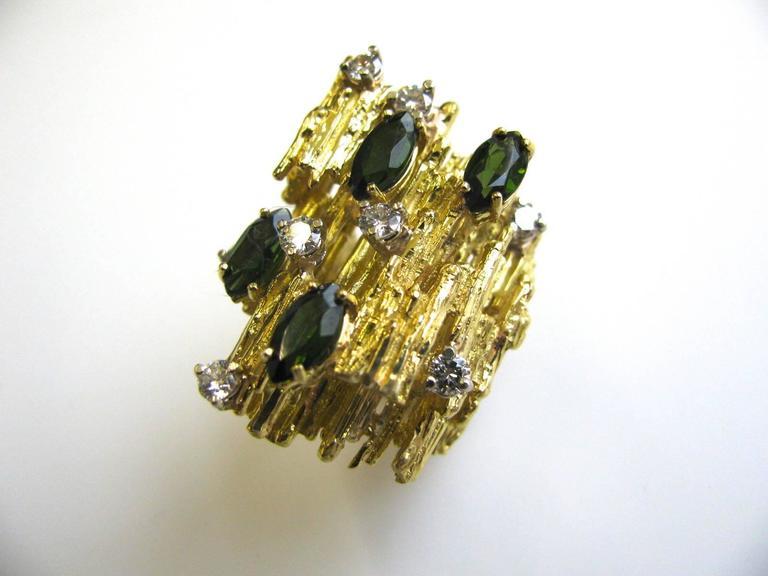 Modernist Tourmaline and Diamond Cocktail Ring, circa 1970 For Sale