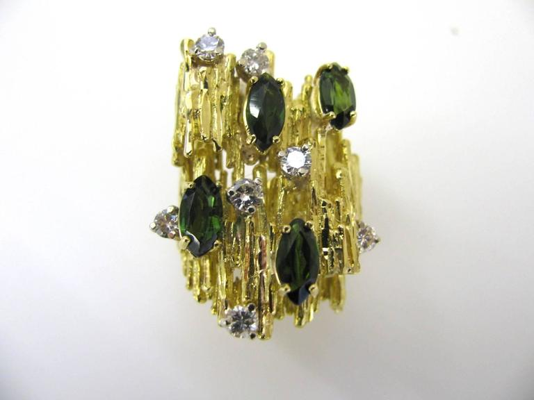 Tourmaline and Diamond Cocktail Ring, circa 1970 In Excellent Condition For Sale In Cincinnati, OH