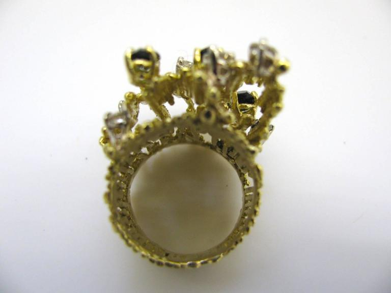 Women's Tourmaline and Diamond Cocktail Ring, circa 1970 For Sale
