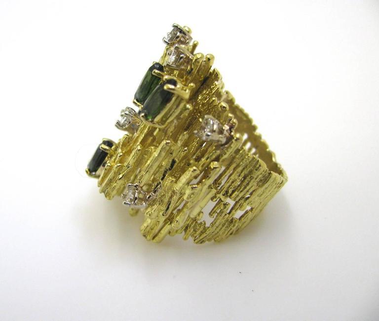 Tourmaline and Diamond Cocktail Ring, circa 1970 For Sale 1