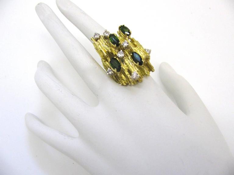 Tourmaline and Diamond Cocktail Ring, circa 1970 For Sale 2