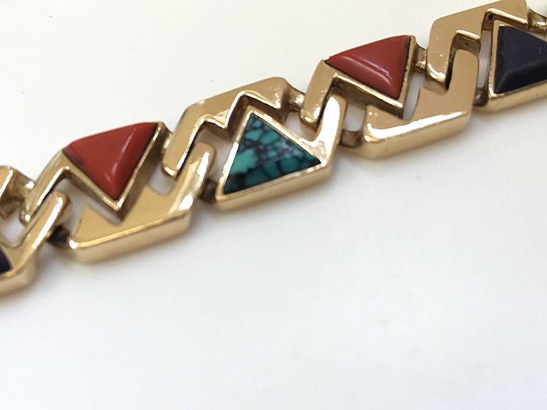 Hardstone Reversible Link Bracelet c 1970 In Excellent Condition For Sale In Cincinnati, OH