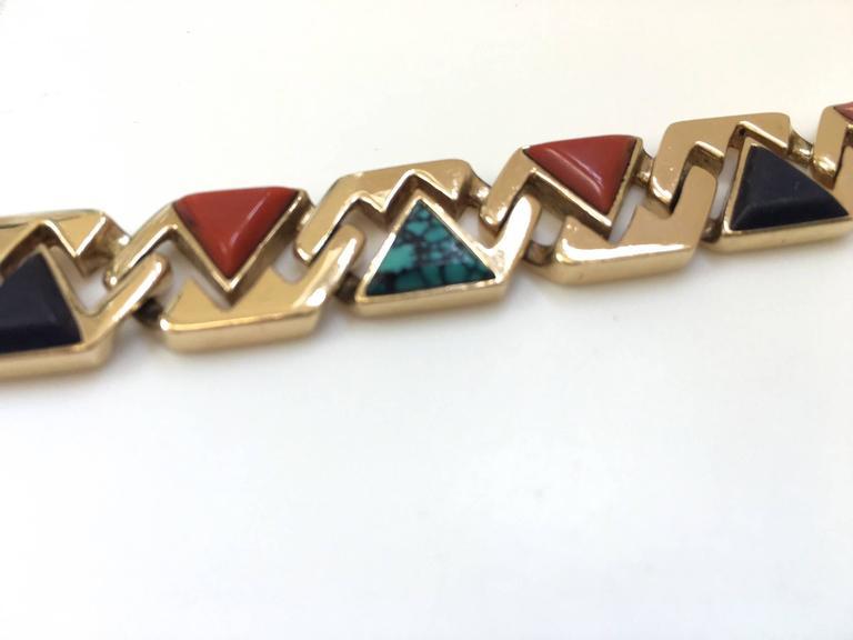 Women's or Men's Hardstone Reversible Link Bracelet c 1970 For Sale