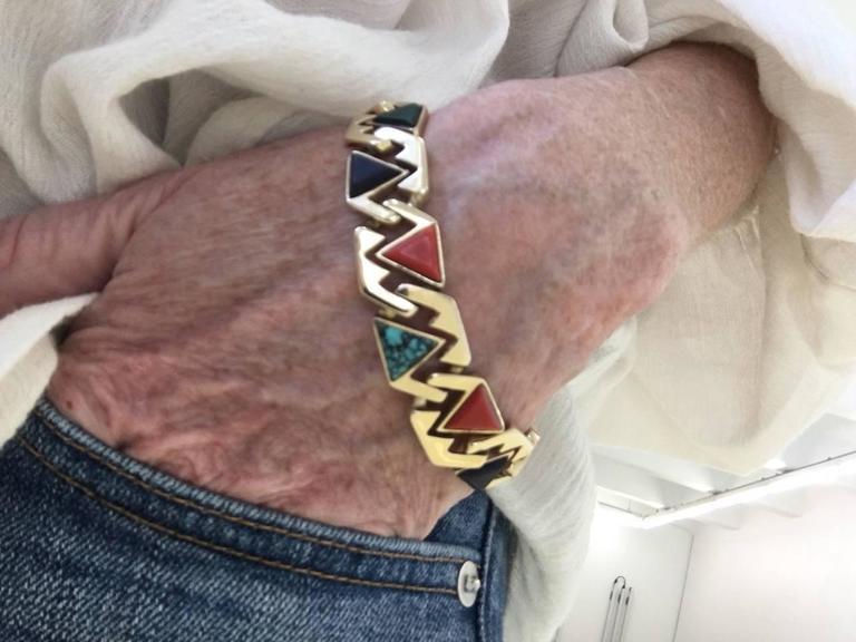 Hardstone Reversible Link Bracelet c 1970 5