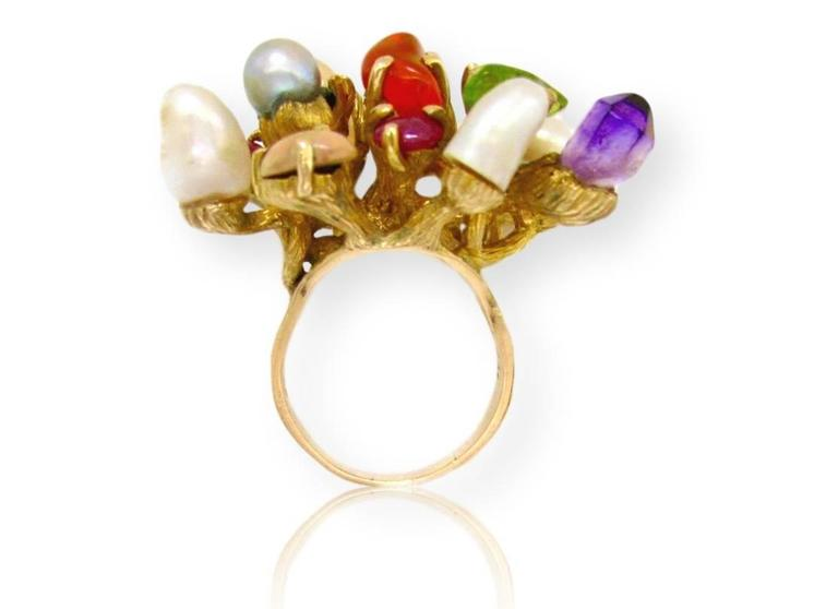 1970s Virgilio of Taxco Modernist Gemstone Cocktail Ring In Excellent Condition For Sale In Cincinnati, OH