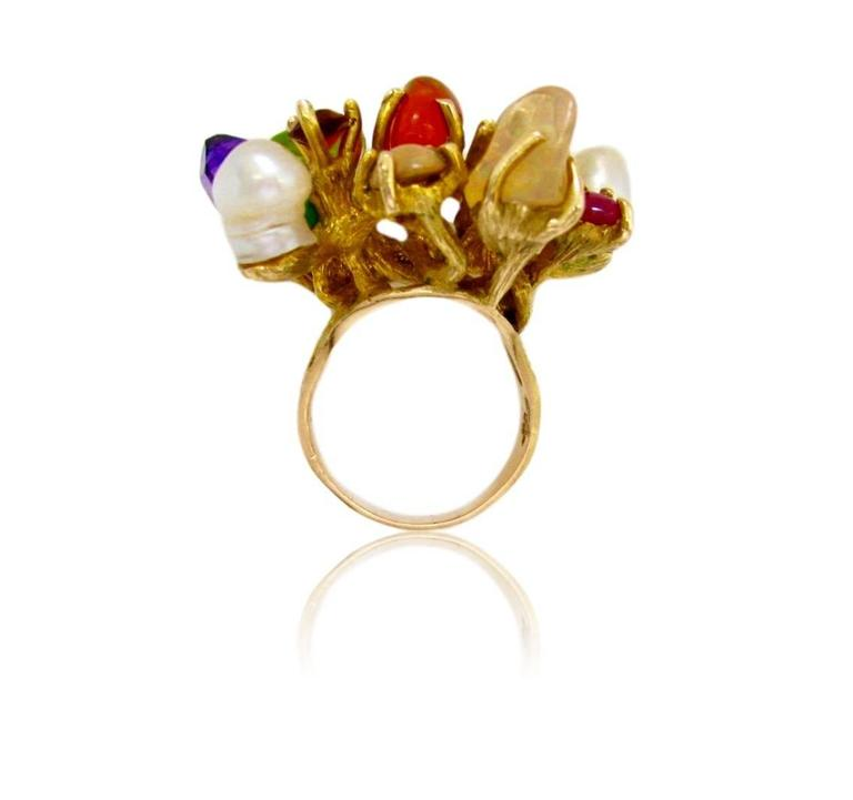 Women's 1970s Virgilio of Taxco Modernist Gemstone Cocktail Ring For Sale