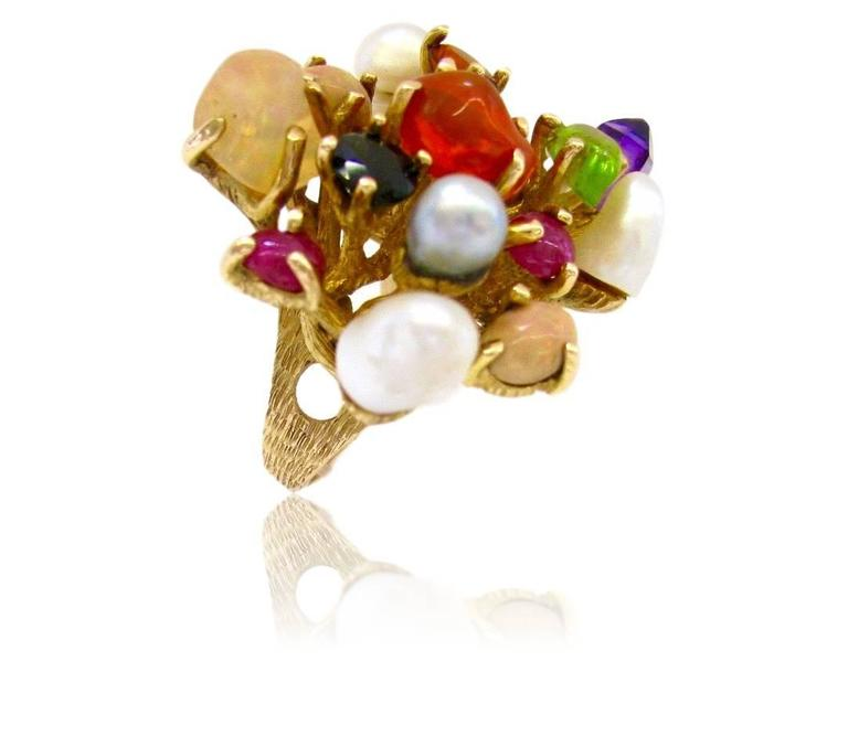 1970s Virgilio of Taxco Modernist Gemstone Cocktail Ring For Sale 1