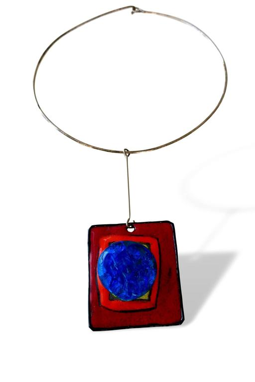 Modernist Pierre Cardin Silver Enamel and Glass Pendant Necklace, French, circa 1965 For Sale