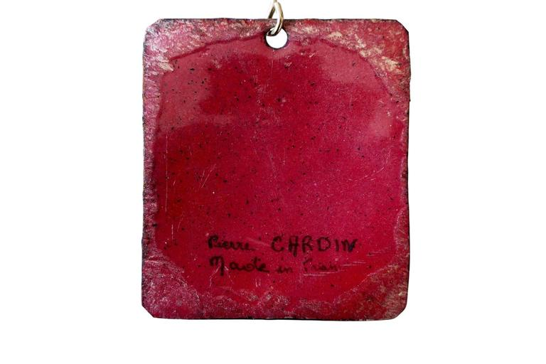 Pierre Cardin Silver Enamel and Glass Pendant Necklace, French, circa 1965 For Sale 1