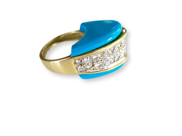 Modernist 1970s Turquoise and Diamond Ring For Sale