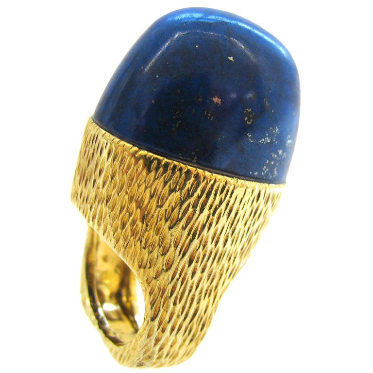 Impressive Lapis and Gold 1970s Cocktail Ring By R.Stone