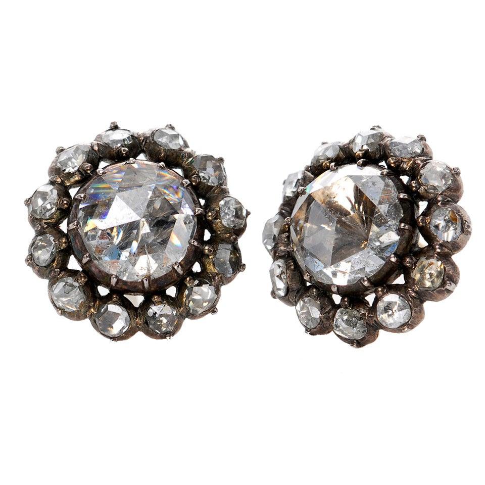 Important Antique Dutch Rose Cut Diamond Earrings At 1stdibs