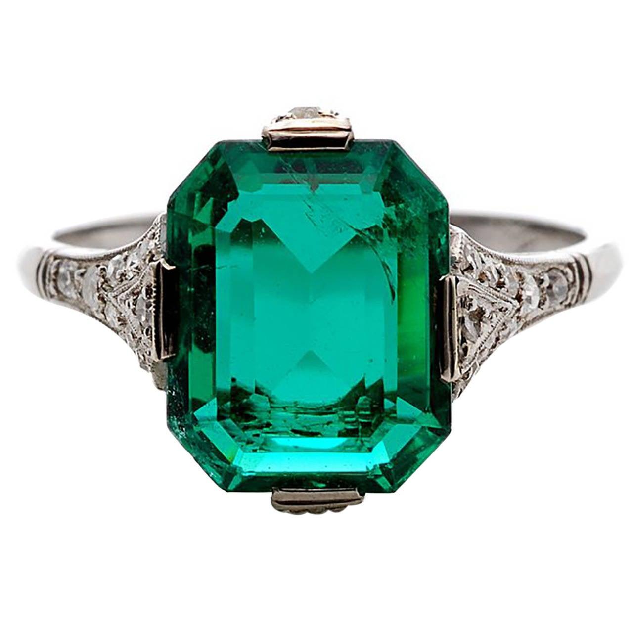 Art Deco Colombian Unenhanced 3 Carat Emerald Ring At 1stdibs