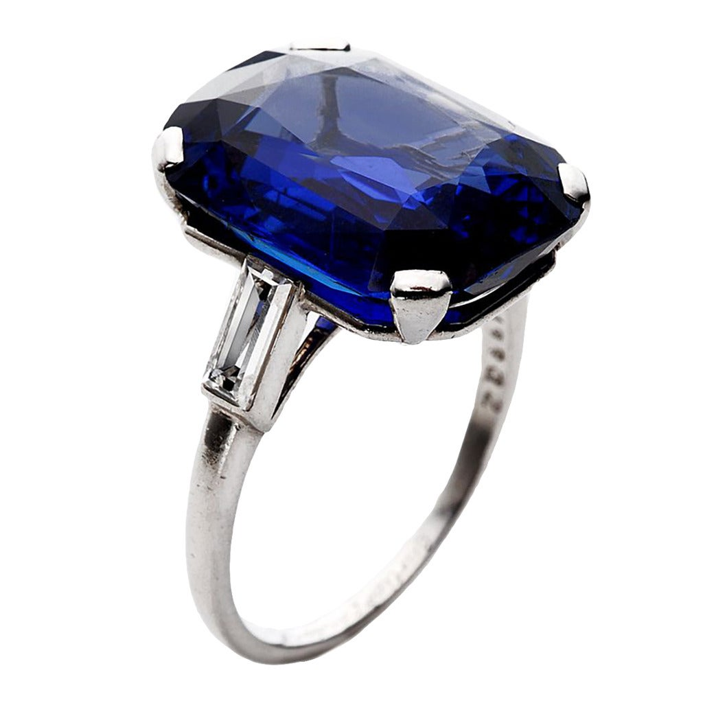 Cartier 14 55 Carat No Heat Sapphire Diamond Platinum Ring