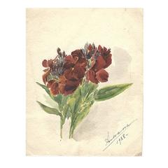 Signed Watercolor of a Bouquet by Grand Duchess Xenia Alexandrovna of Russia