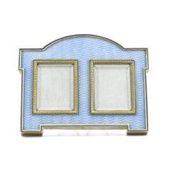 Fabergé Antique Ice Blue Guilloché Enamel Double Photograph Frame, circa 1905