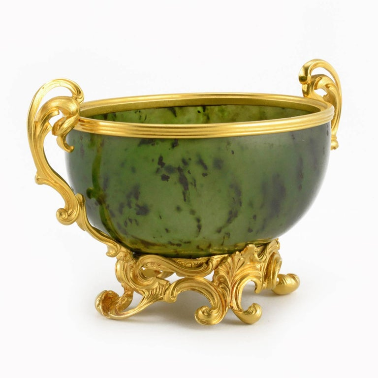 Antique Fabergé Imperial Russian Gold and Carved Nephrite Bowl 2