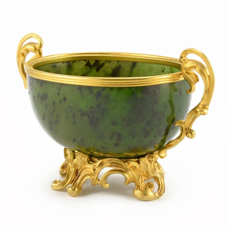 Antique Fabergé Imperial Russian Gold and Carved Nephrite Bowl 3