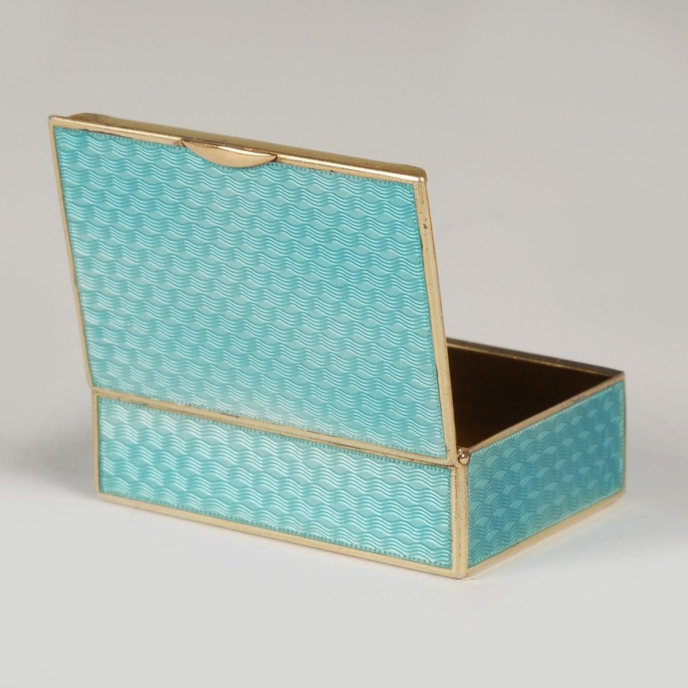 Women's or Men's Fabergé Gilded Silver and Guilloché Enamel Vesta in Original Fitted Case