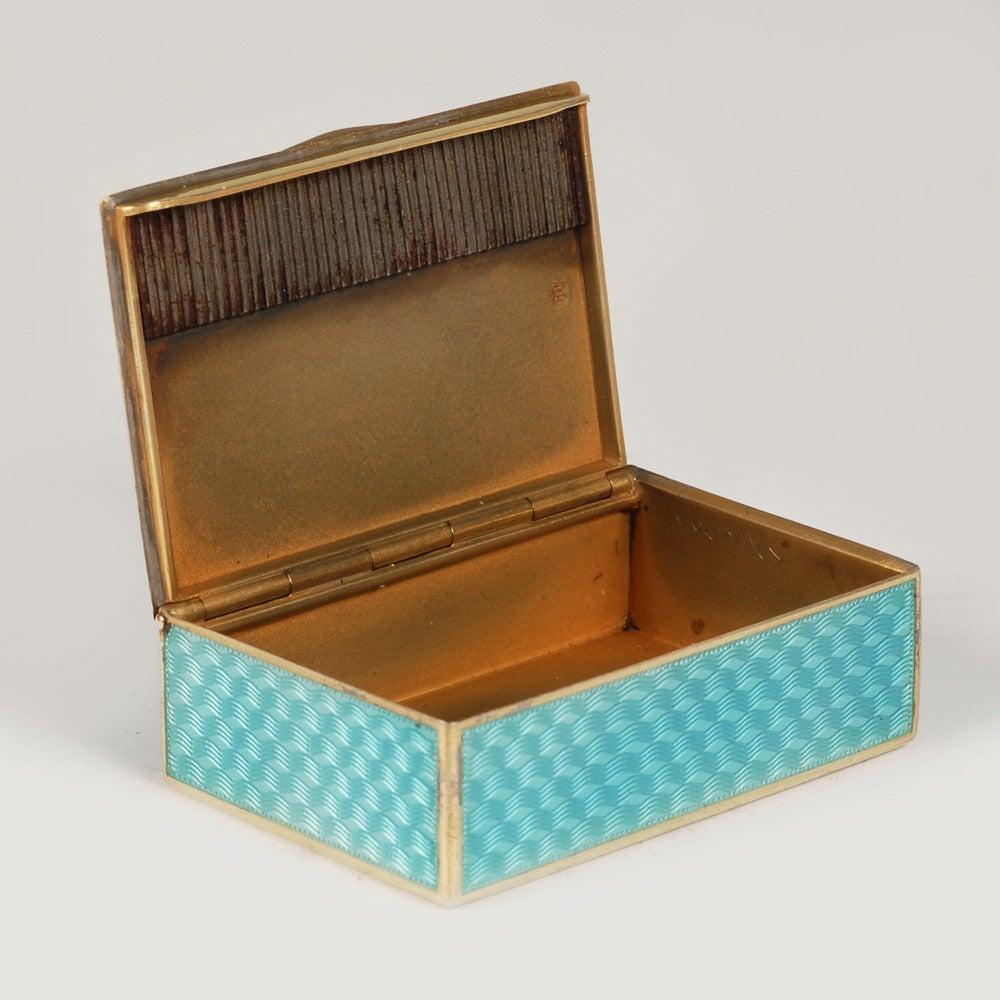 Fabergé Gilded Silver and Guilloché Enamel Vesta in Original Fitted Case 1