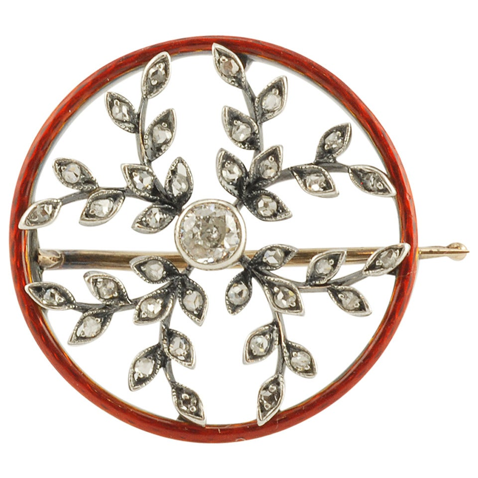 Antique Russian Enamel Gold Diamond Brooch At 1stdibs