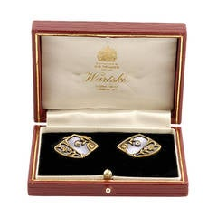 Pair of Russian Antique Gold, Guilloché Enamel, and Diamond Cufflinks