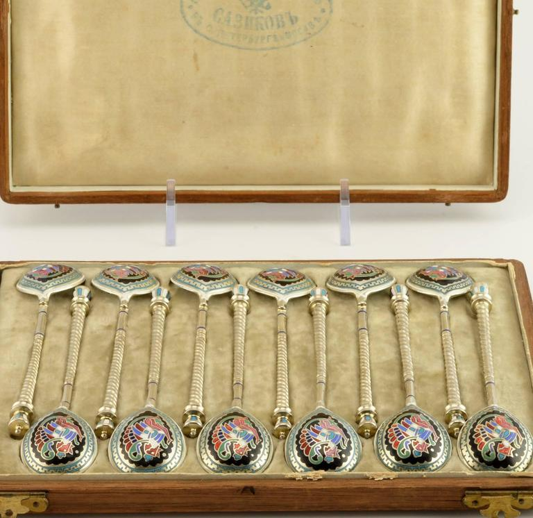 Russian Revival Antique Russian Set of 12 Champlevé Enamel Demitasse Spoons by Sazikov For Sale