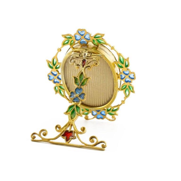 Pair of Miniature Art Nouveau Silvergilt and Plique-à-Jour Enamel Frames, Scheid In Excellent Condition For Sale In Redmond, WA