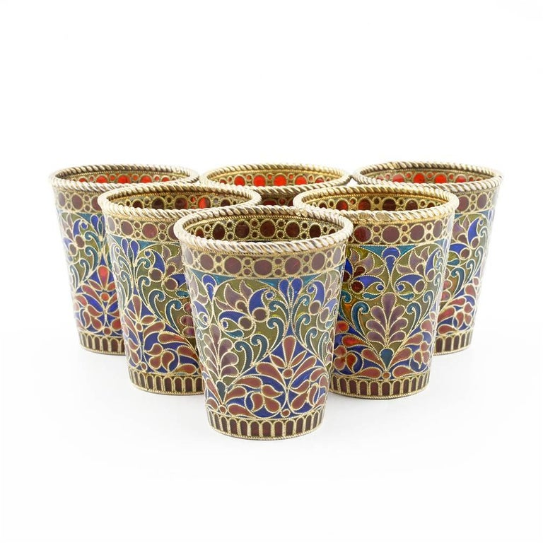 Russian Revival Set of Six Russian Silver and Plique-à-Jour Enamel Toasting or Shot Glasses For Sale