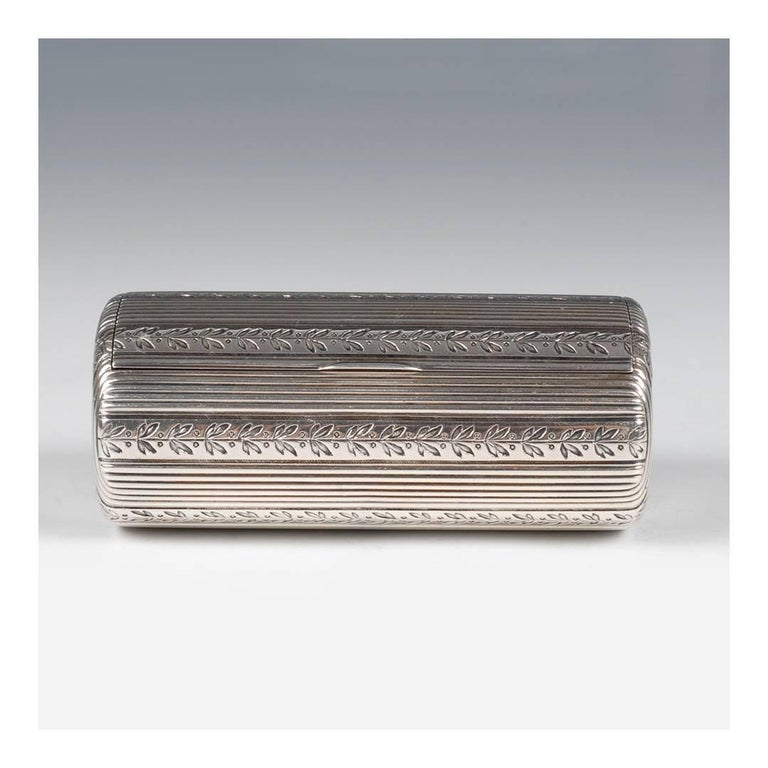 Edwardian Fabergé Antique Russian Silver Oval Case Engraved with Laurel Bands For Sale