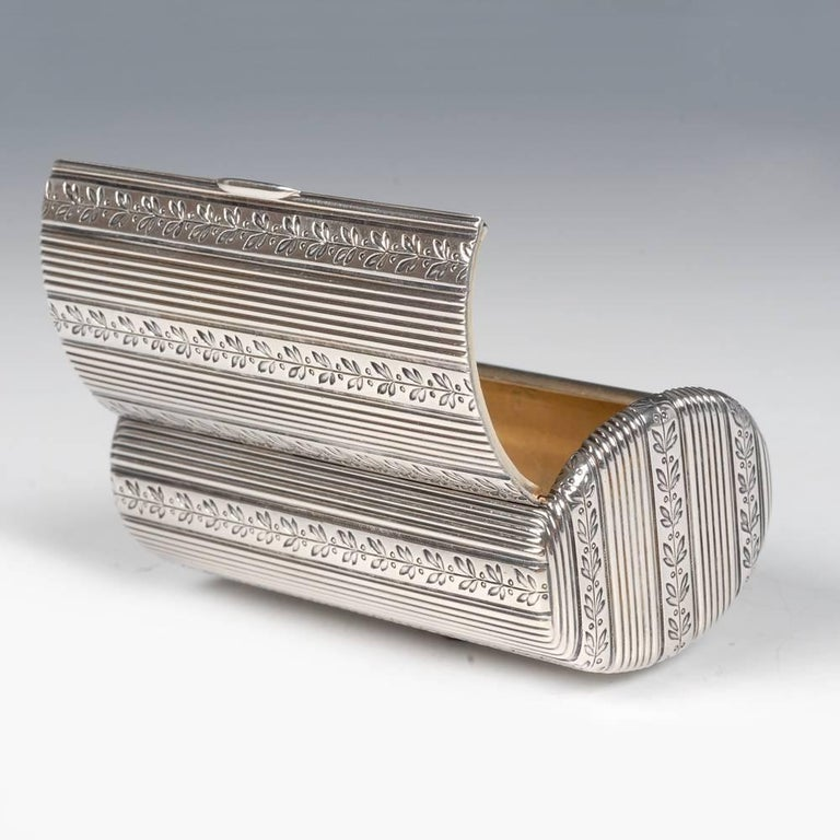 Fabergé Antique Russian Silver Oval Case Engraved with Laurel Bands For Sale 2