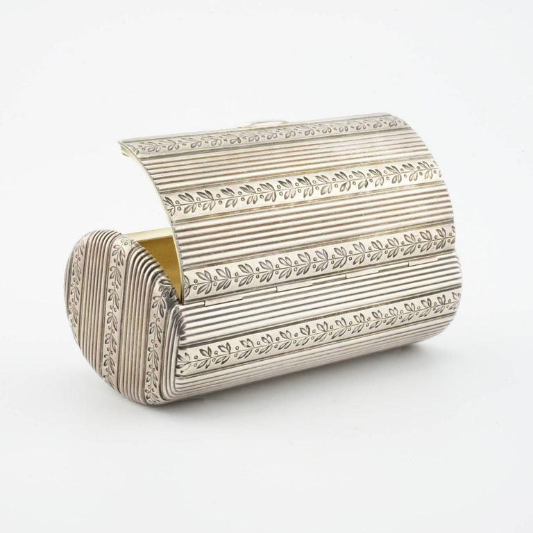 Women's or Men's Fabergé Antique Russian Silver Oval Case Engraved with Laurel Bands For Sale