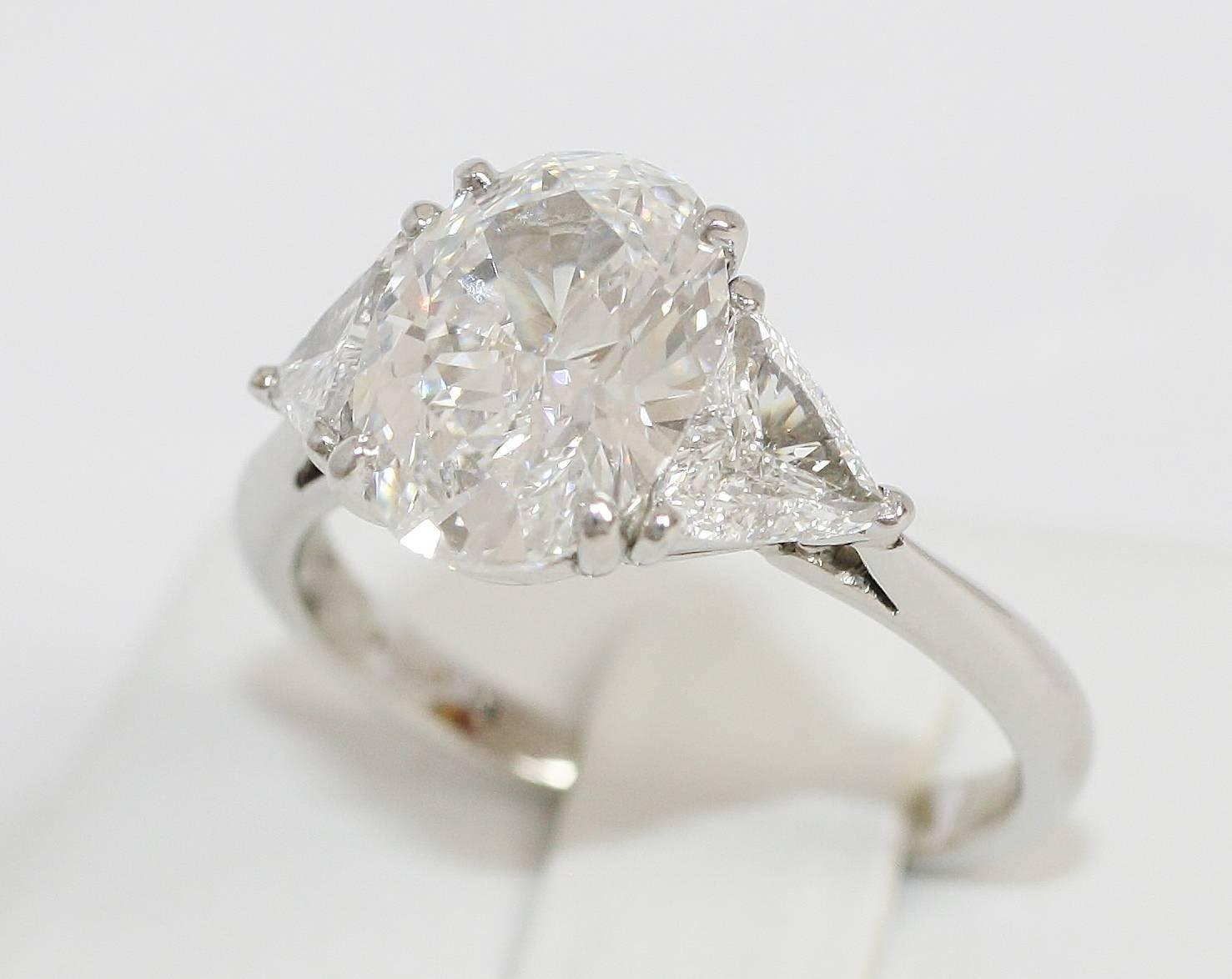 Tiffany and Co 3 06 carat Oval Diamond platinum Engagement Ring at 1stdibs