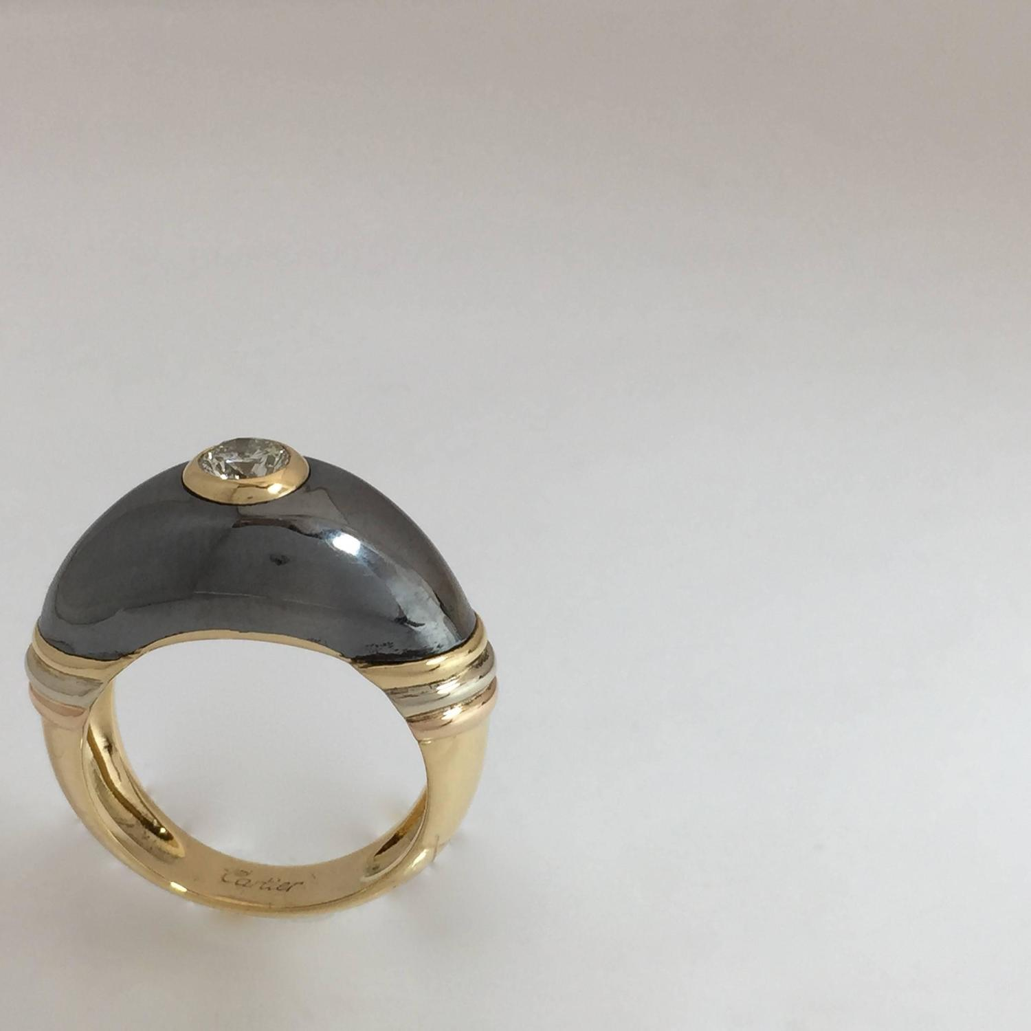 1980s cartier silverium tricolor gold ring at 1stdibs