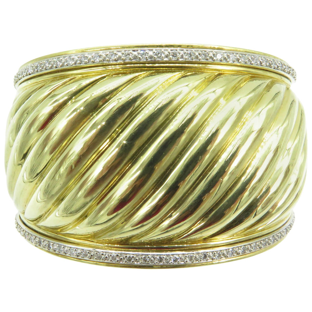 David Yurman Carved Cable Diamond Gold Cuff Bracelet At