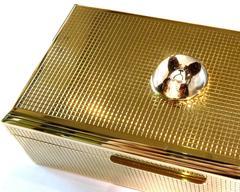 Spectacular Large Hallmarked English Essex Crystal French Bulldog Gold Box