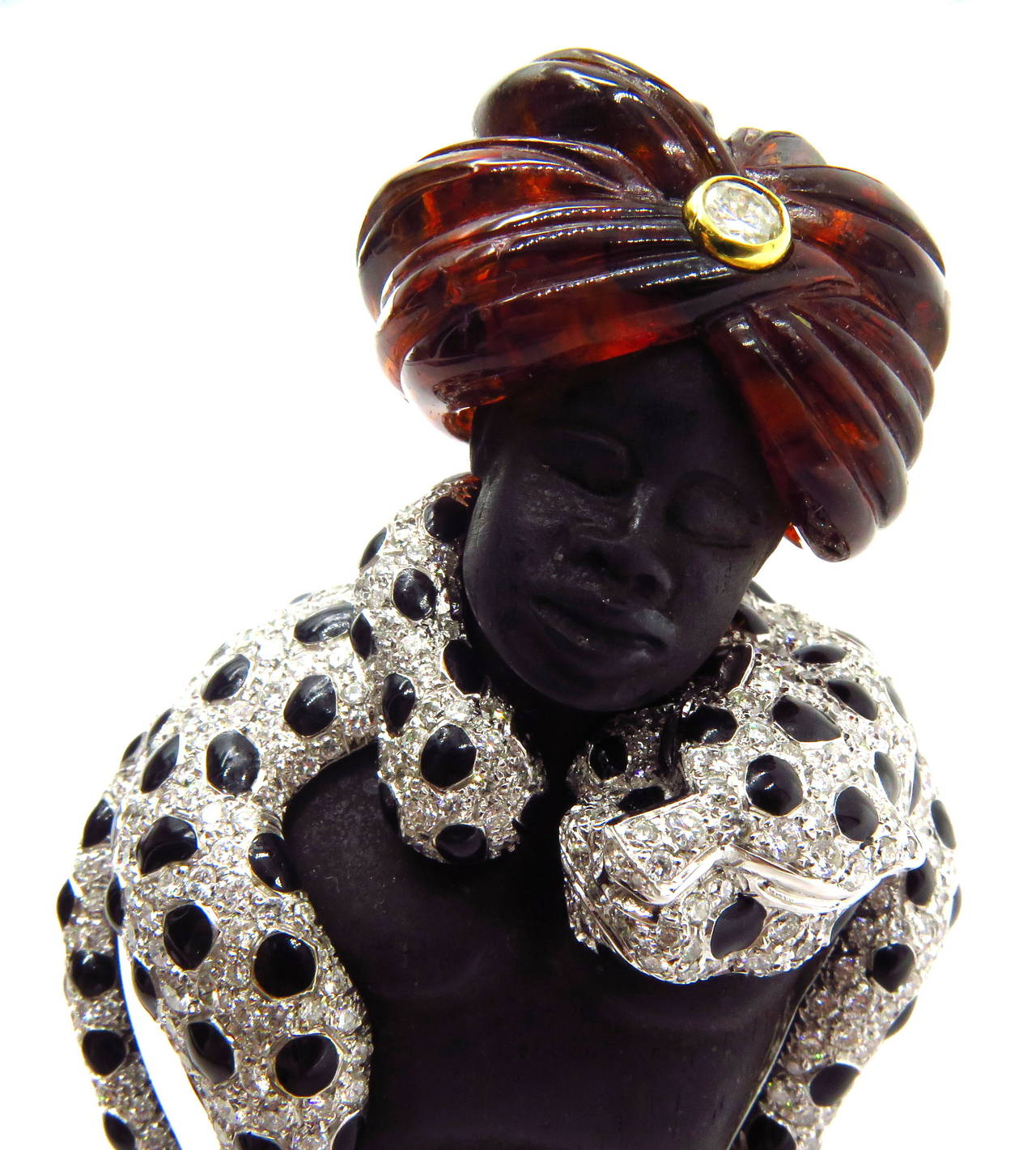 Magnificent Large Blackamoor with Movable Draping Enamel Diamond Leopard Pin For Sale 4