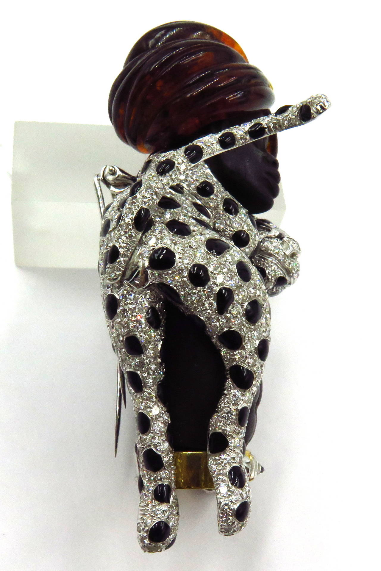 Magnificent Large Blackamoor with Movable Draping Enamel Diamond Leopard Pin For Sale 6