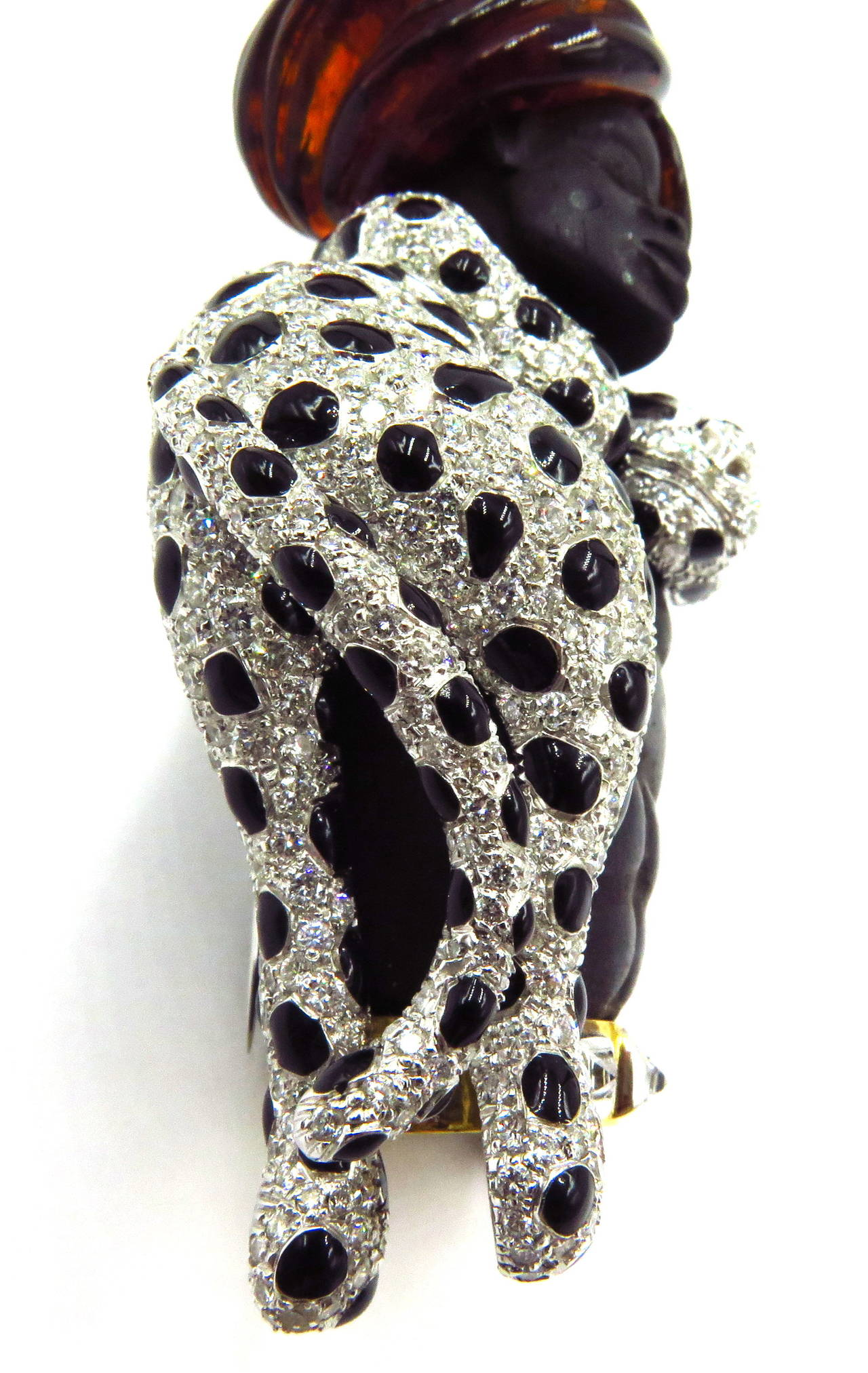 Magnificent Large Blackamoor with Movable Draping Enamel Diamond Leopard Pin For Sale 5