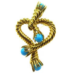 Tiffany & Co. Schlumberger Turquoise Gold Roped Heart Design Brooch