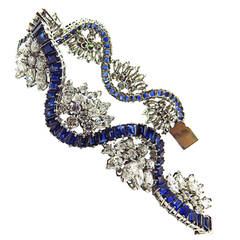 1960s Sapphire Diamond Platinum Ribbon Bracelet