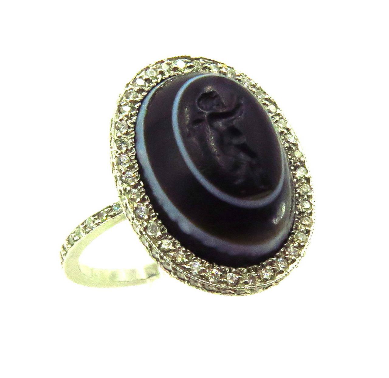 Carved Banded Agate Diamond Platinum Angel Cherub Signet Ring 3