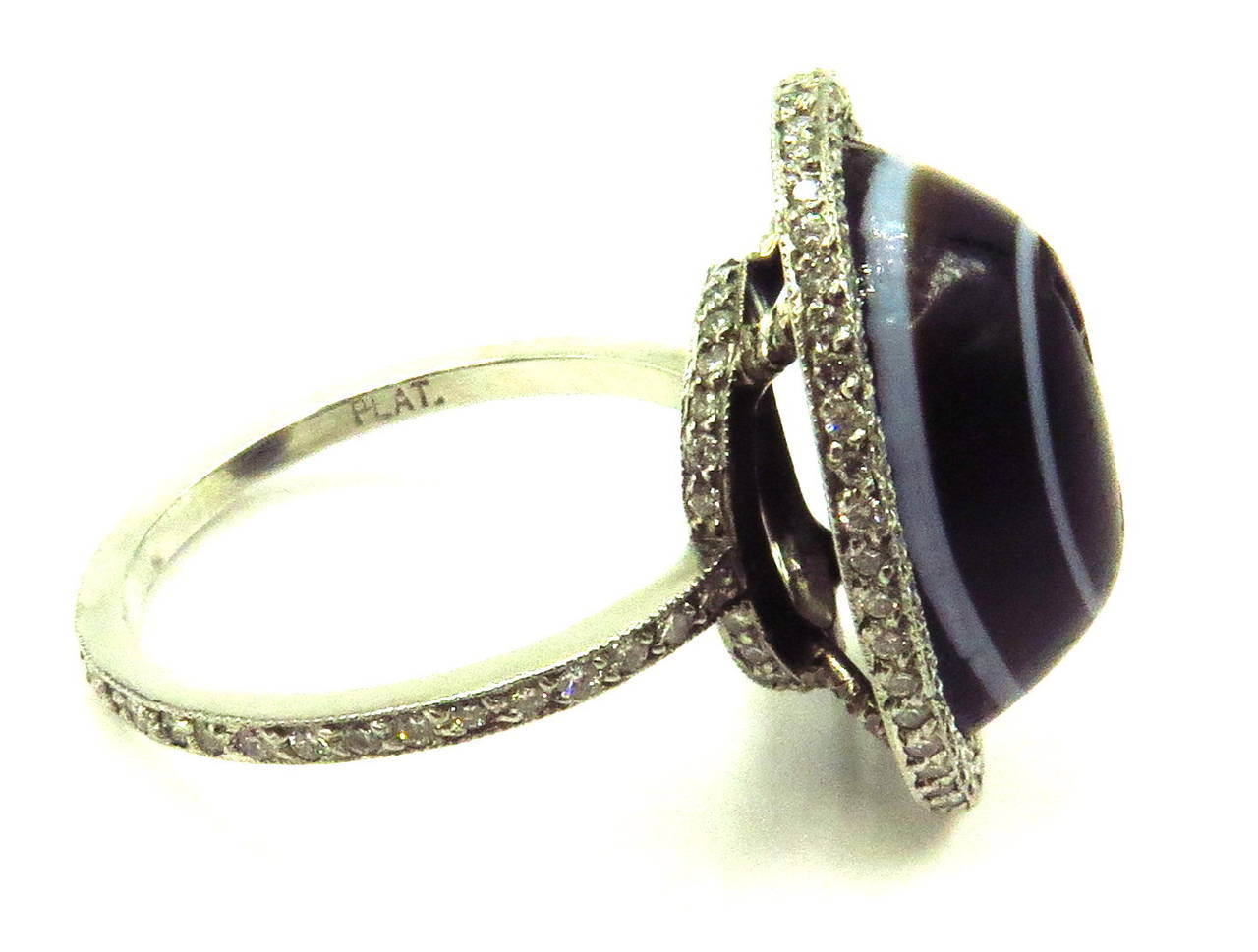 Carved Banded Agate Diamond Platinum Angel Cherub Signet Ring 4